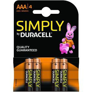 Pack de 4 piles Duracell Simply AAA (MN2400B4S)