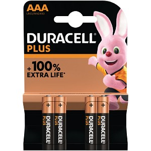 Pack de 4 piles AAA Duracell Plus Power (MN2400B4)