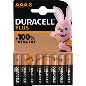 Pack de 8 piles AAA Duracell Plus Power (MN2400B8)