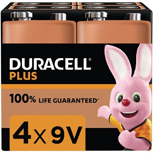 Duracell Plus Power 9v PP3 Pack de 4 (MN1604B4)