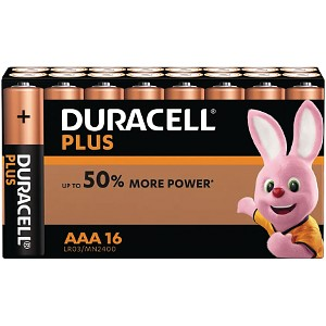 Pack de 16 piles AAA Duracell Plus Power (MN2400B16)