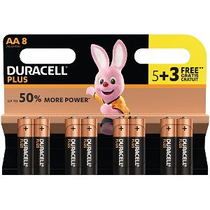 Pack de 5 piles Duracell Plus Power AA + 3 gratuites (MN1500B5+3)