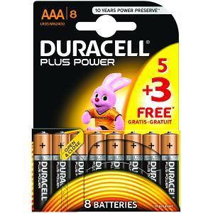 Duracell Plus Power AAA Pack de 5 + 3 gratuits (MN2400B5+3)