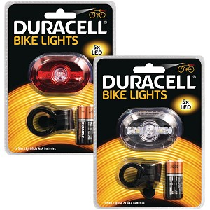 Duracell Ensemble de lampes 5 LED de vélo avant et arrière (BUN0046A)