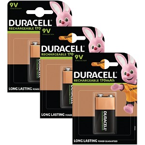 Duracell Rechargeable 9V x 3