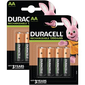 Duracell AA 1300mAh Rechargeable  - Pack de 8