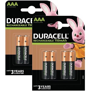 Duracell AAA 750mAh Rechargeable - Pack de 8