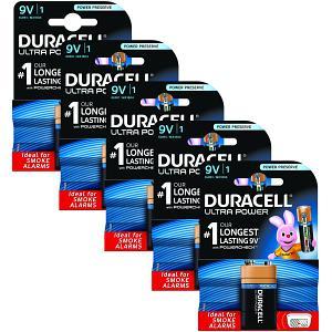 9V Duracell Ultra Power 5 Packs de Piles (MX1604-X5)