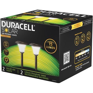 Duracell 2Pk 15 Lumen Solar LED Pathway Lights (GL001BP2DU)